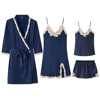 Camisa romántica negra para mujer Sling Deep V Pijama clásico Deep V Vestido sexy de pijama ...