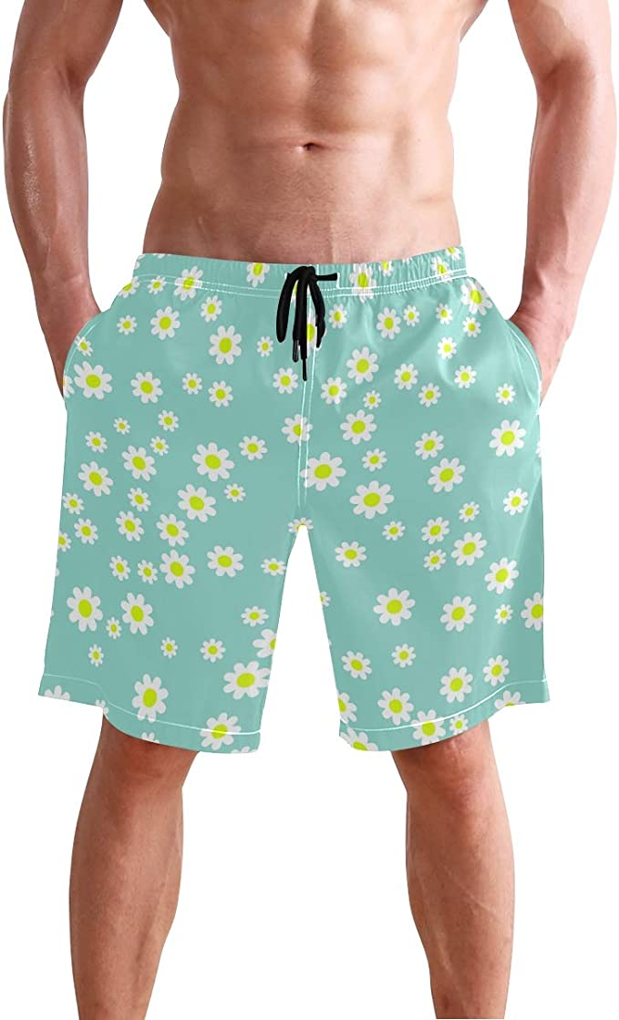 Mens Swim Trunks Rabbit and Flower Quick Dry Beach Board Shorts with Mesh Lining