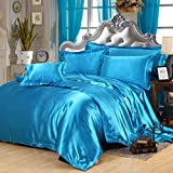 Lake Blue Silk Bedding Luxury Bedding Silk Duvet Cover Set Silk Duvet Cover Silk Pillowcase, King Bedding