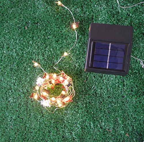 a Claus String LED Solar String Lights Solar Lights Xmas Tree Light Decor Solar Santa Claus Black Hat Decorative Holiday Pathway Led Lighting (Warm White, solar power) ()