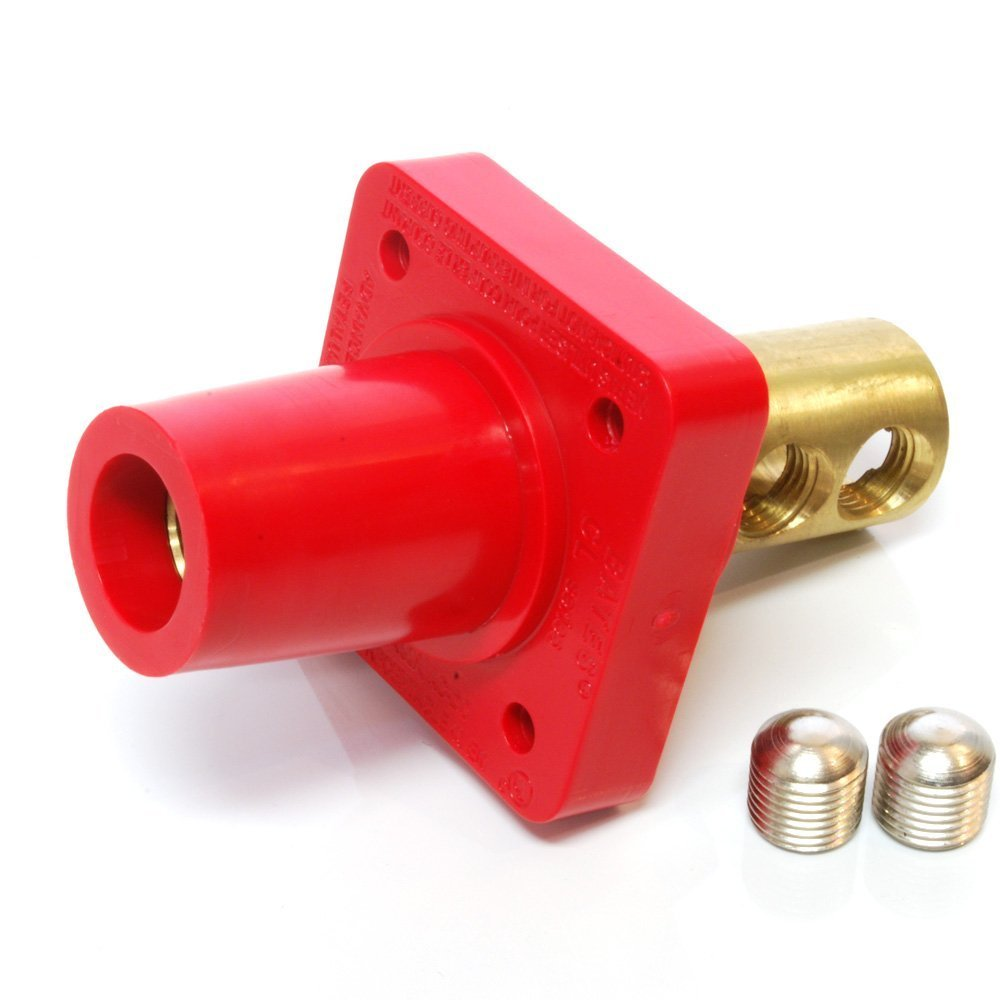 Marinco CL40FRB-CX CL Cam Type, Panel Mount, 400 Amp, 600 Volt, 2/0 - 4/0 AWG double set screw, Female - Red (C)