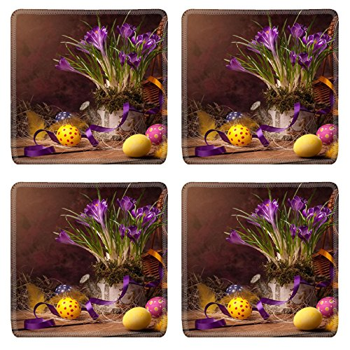Liili Square Coasters Non-Slip Natural Rubber Desk Pads vintage Easter card spring flowers on a wooden background Photo 12782445
