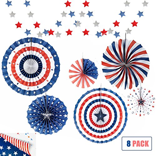 Political Party Decorations, Scout Activity Decorations,Red White and Blue Decorations, Presidents Day Paper Fan Decorations Red White Blue Stars Decor, Patriotic Party Supplies(8 pack)