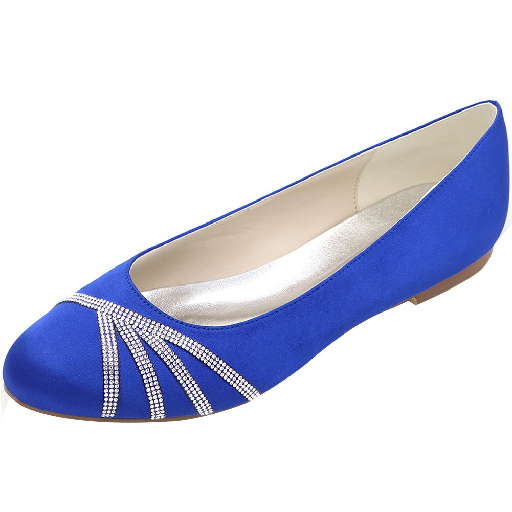 Loslandifen Women's Elegant Pointed Toe Satin Flats Punctuated with Rhinestones Party Court Shoes B01LEFVPVW 37 M EU/6.5 B(M)US|Blue