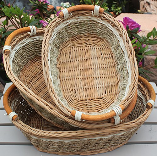 - RT450100-3: Handwoven Wicker Storage Baset Curve Pole Handle Baskets in Brown