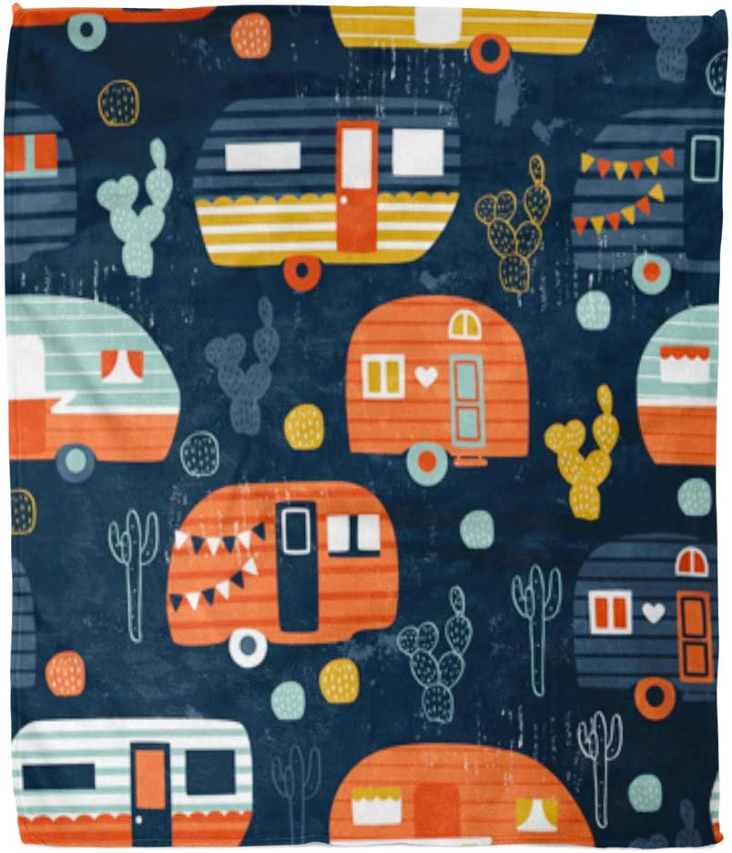 Golee Throw Blanket Blue Cactus Camping Pattern Navy Camper Caravan Cute House Retro 60x80 Inches Warm Fuzzy Soft Blanket for Bed Sofa