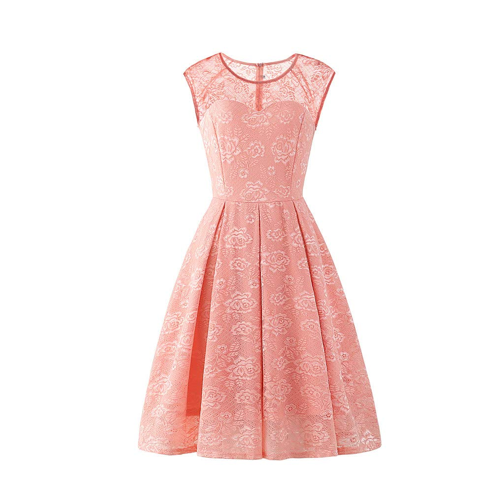 Botrong Lace Dresses for Women Sleeveless Floral Solid Vintage Pleated Country Rock Cocktail Dress (Pink,XXL)