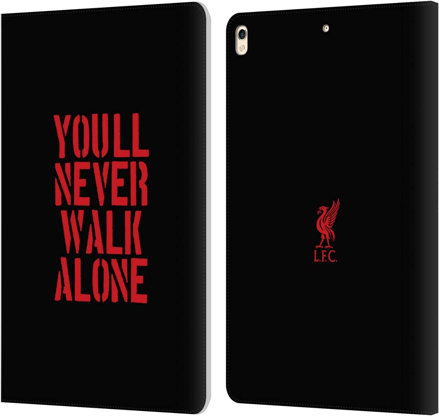 Head Case Designs Officially Licensed Liverpool Football Club Stencil Black Liver Bird YNWA PU Leather Book Wallet Case Cover Compatible with Apple iPad Pro 10.5 (2017)