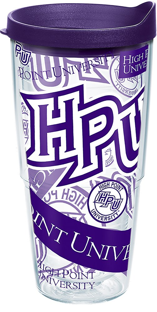 Tervis 1275608 High Point Panthers All Over Insulated Tumbler with Wrap and Royal Purple Lid 24oz Clear
