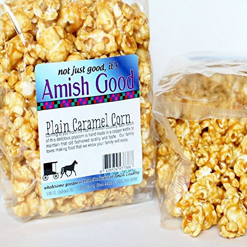 Amish Good Premium Caramel Popcorn Hand Stirred in Copper Kettle Real Butter and Coconut Oil Makes Better Caramel Corn 10 Ounce Bag ()