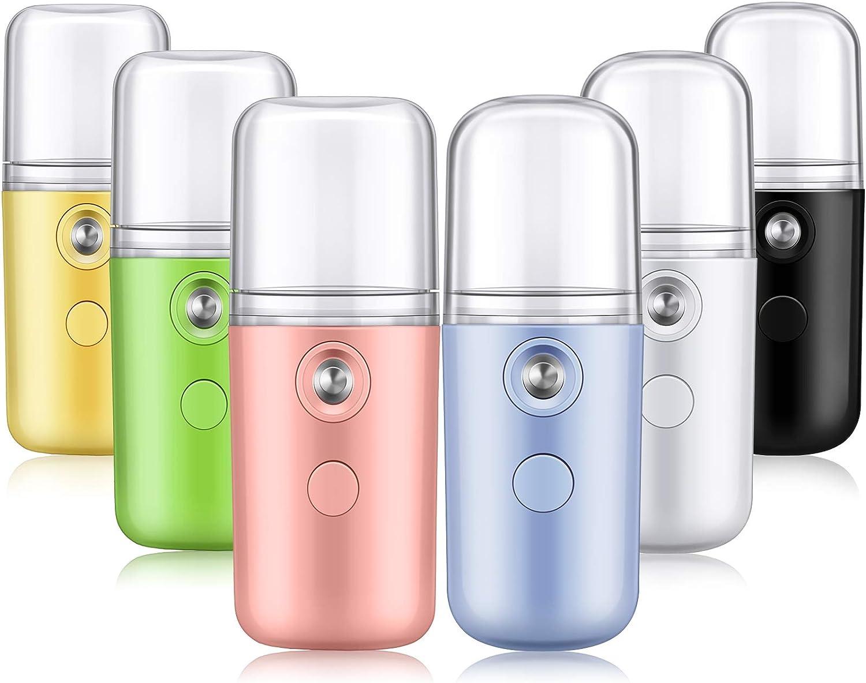 6 Piezas Rociadores Facial Nano Mini Vaporizador Facial Portátil Atomizador Nano Facial USB Recargable Rociador de Niebla Práctico Humidificador Facial Hidratante para Maquillaje, 6 Colores
