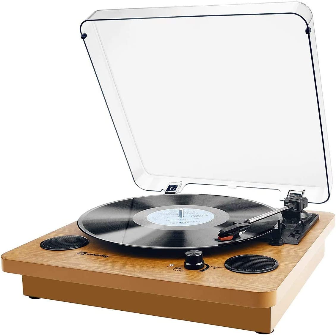 Record Player, Popsky Vintage Bluetooth Vinyl Player with Stereo Speakers, 3 Speed Belt-Drive LP Turntable, Vinyl to MP3 Recording, RCA Output, 3.5mm Aux Input