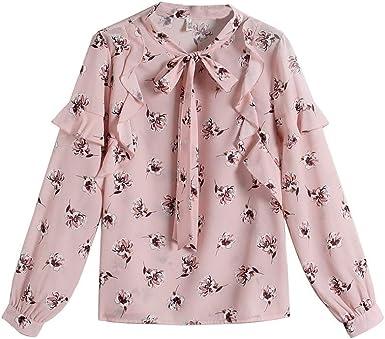 ALIKEEY Blusa De Camiseta De Camiseta De Gasa con Estampado De Gasa con Estampado Floral En Color Camisa con Estampado De Gasa con Lazo Floral Camisa De Manga Corta Camiseta: Amazon.es: Ropa