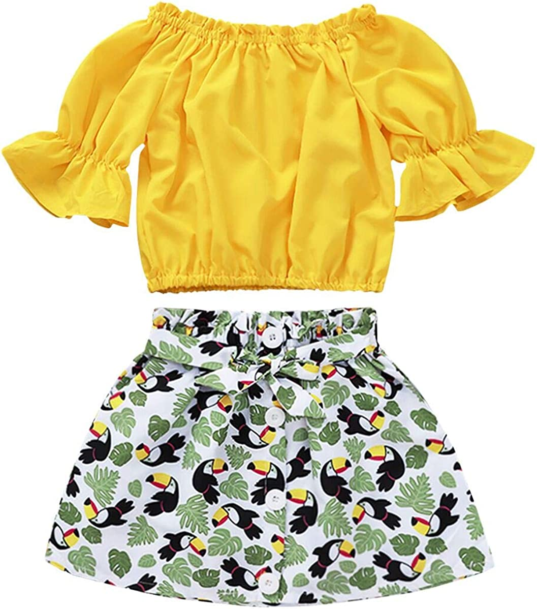 Jurebecis Baby Girl Floral Outfit Toddler Kids Lace Halter Tank Top+Boho Skirt Set Dress Summer Clothes 1-6 Years