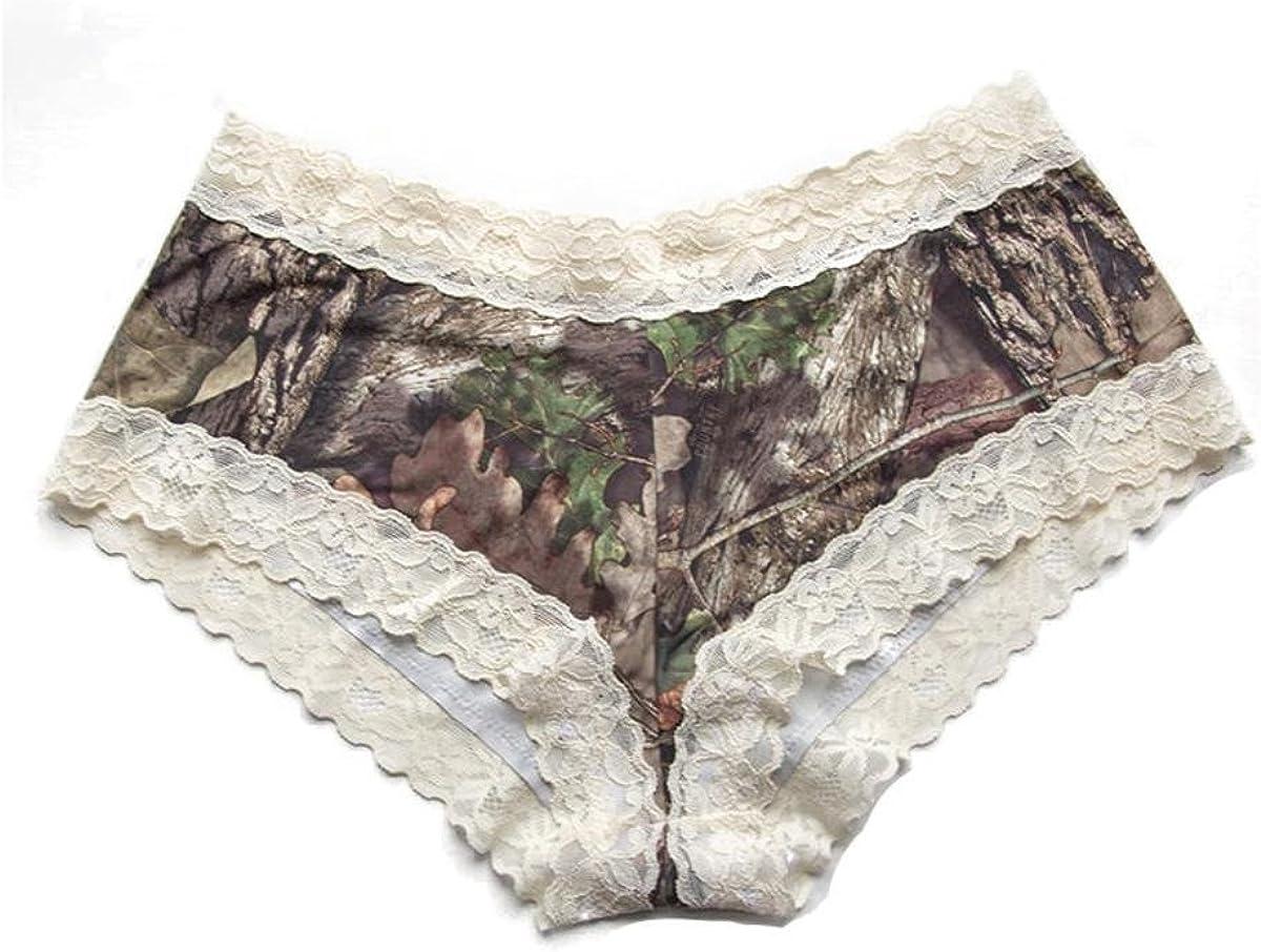 Mossy Oak w//Cream Wilderness Dreams 602250 Lace-Trimmed Boy Short Panties
