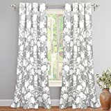 "DriftAway Floral Delight Botanic Pattern Room Darkening/Thermal Insulated Grommet Unlined Window Curtains, Set of Two Panels, each 52""x84"" (Gray) For Sale"