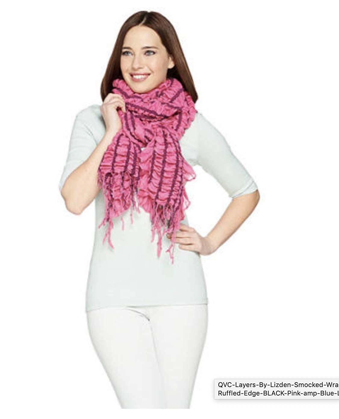 Pink Layers by Lizden Smocked Ruffled Wrap Scarf