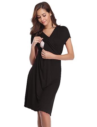 Hawiton Women s Breastfeeding Nightdress Maternity Pyjamas Set Nursing  Nightwear Full Length Nightshirt A-line Hospital Dress  Amazon.co.uk   Clothing 6fcf17a78