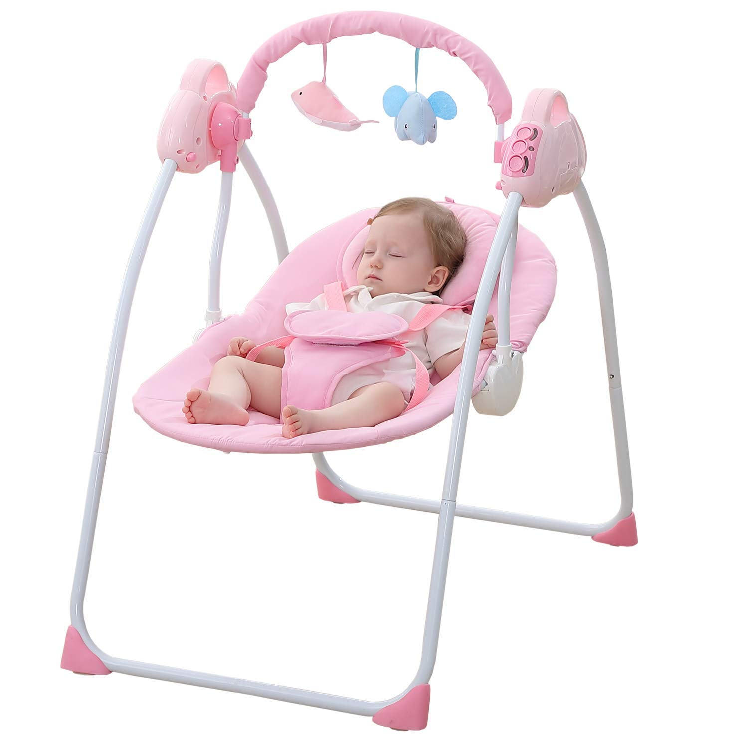 WBPINE Baby Swing Cradle, Automatic Portable Baby Rocker Swing Chair with Music Pink Without Remote Control