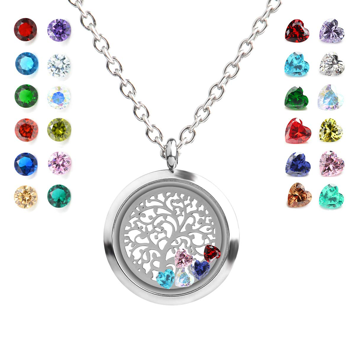 CrazyPiercing Birthstone Necklace, Family Tree of Life Floating Living Memory Round Locket Pendant Necklace 24