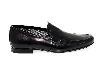 Men's FU7870BLACK Black Leather Loafers