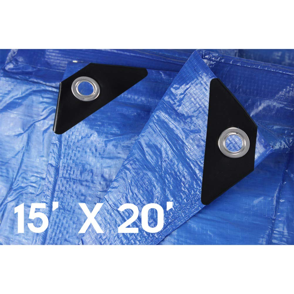 Hanjet Waterproof Tarps 15 x 20 5 Mil Thick Rain Covers Drop Cloths Camping Tents Tarp Blue by Hanjet
