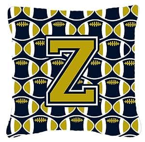 """Caroline tesoros del cj1074-zpw1414letra Z fútbol azul y oro Tejido decorativo almohada, 14""""H x 14"""" W, multicolor"""
