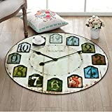DW&HX decorative rugs,Round,Europe and america retro clock,Runner area,Sofa side,Hanging basket blanket,Children mat Home Bedroom,Desk computer chair mat-D diametro80cm(31inch)