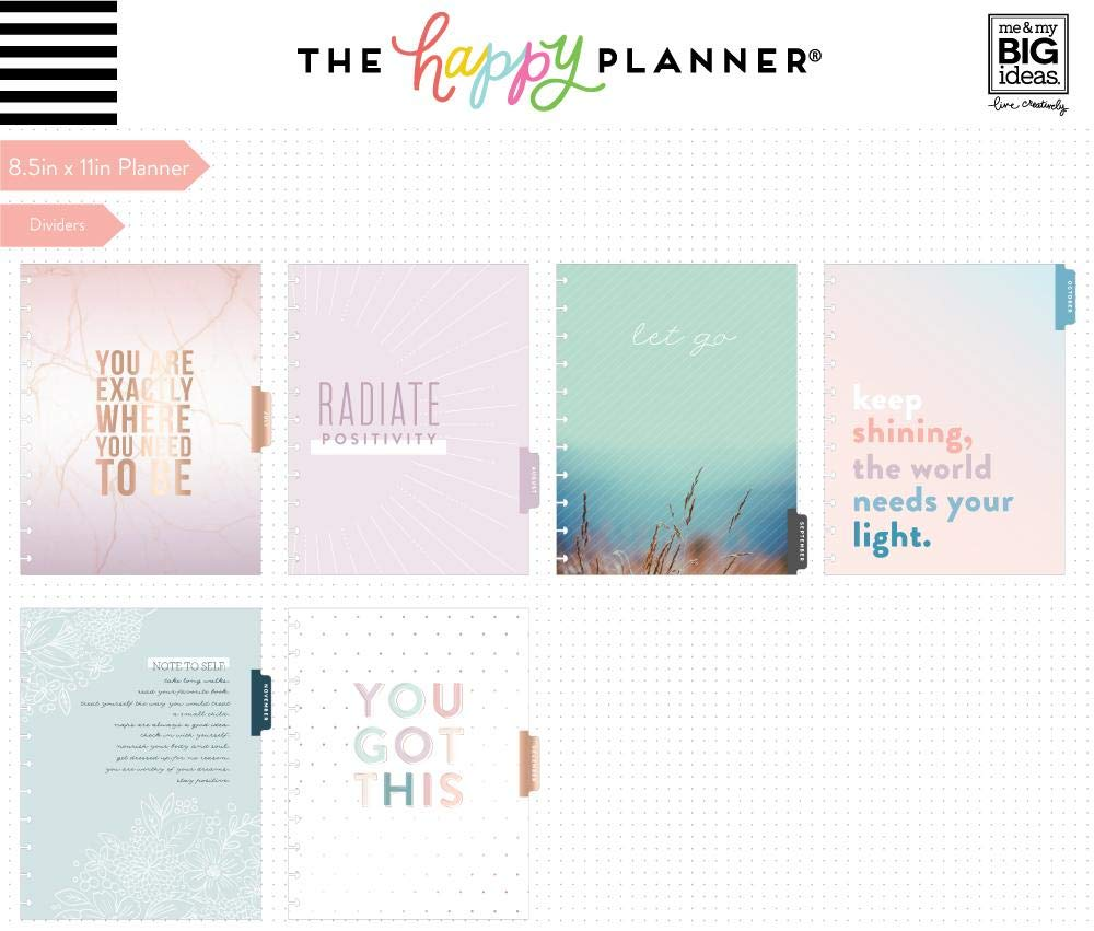 Create 365 ; Big Happy Planner ; Wellness ;'' Just Breathe'' Dated 18 Months (July 2019-December 2020) ; Vertical Layout ; Weekly & Monthly Page layouts ; Size: 11.5'' x 10.25 by Create 365 (Image #1)