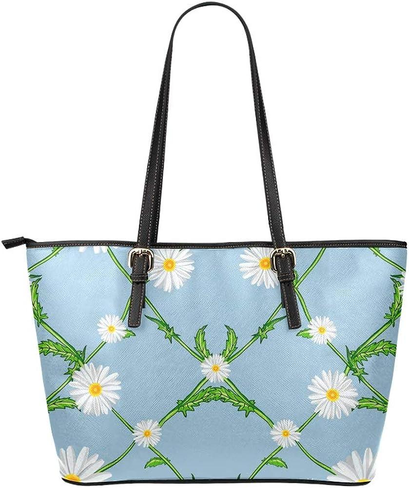 Hand Carry Bag For Women White Romantic Flower Calendula Leather Hand Totes Bag Causal Handbags Zipped Shoulder Organizer For Lady Girls Womens The Handbags