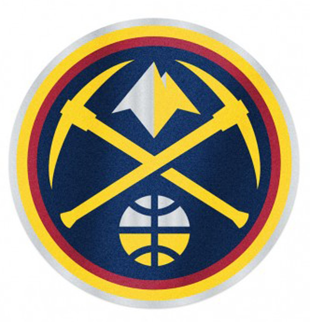 NBA Denver Nuggets Auto Badge Decal, hard thin plastic 4 inches round