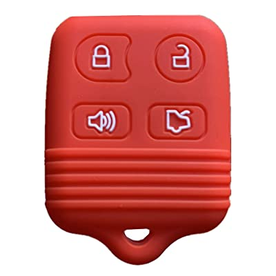 Rpkey Silicone Keyless Entry Remote Control Key Fob Cover Case protector For Ford Mustang Edge Escape Expedition Explorer Focus Escort Lincoln Mercury CWTWB1U331 GQ43VT11T 8S4Z-15K601-AA 5925872(gules: Automotive