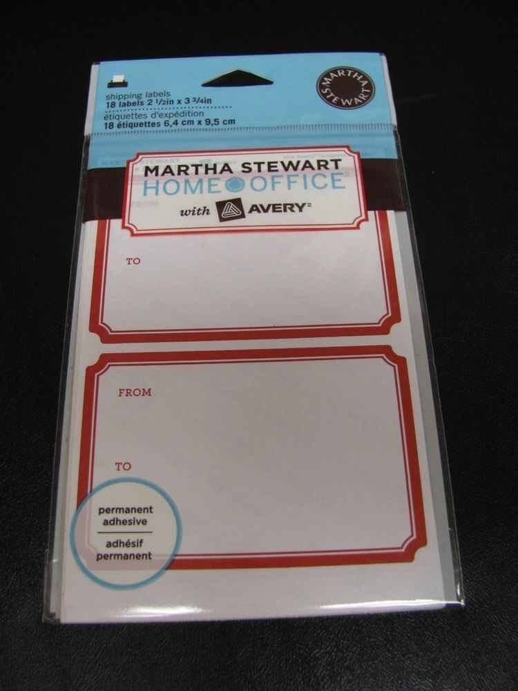 "Martha Stewart Home Office with Avery Shipping Labels 2 1/2"" X 3 3/4""- 18 Labels with Red Border"