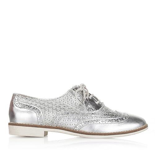 Blucher 41 PLATA Amazon complementos Zapatos es y Piel C01404 Plata Castellanisimos Cordones Color Mujer Zapatos Tallas qHRHxWFE