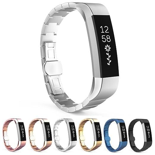 StrapsCo acero inoxidable rectangular Link reloj banda correa para Fitbit alta: Amazon.es: Relojes