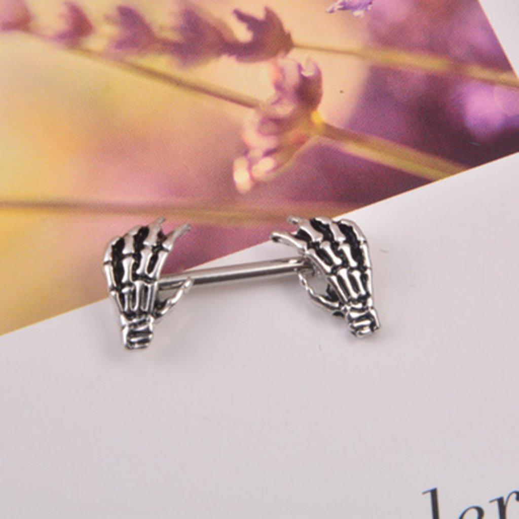 Fenteer 2 Pair 14G Rose Flower Ghost Hand Nipples Ring Shield Piercing Jewelry