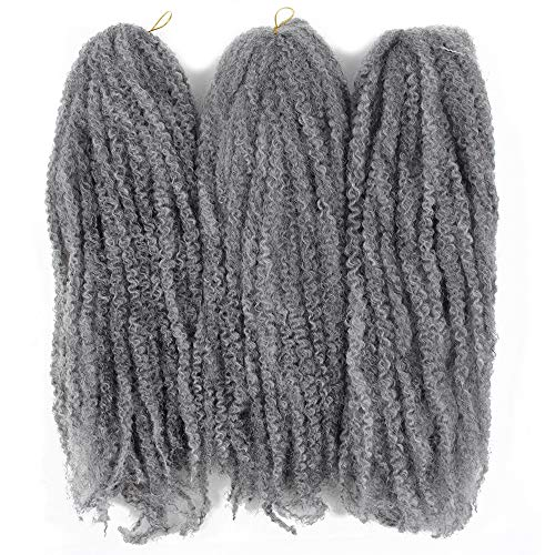 Afro Kinky Twist Crochet Hair Braids Marley Braid Hair 18inch Senegalese Curly Crochet Synthetic Braiding Hair (Grey) ()