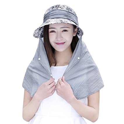 Womens Summer Sunhat Wide Brim Roll Up Sun Visor Hat with Neck Face Shield  Mask Outdoor Cycling UV Sun Protection Block Hat Travel Beach Fishing Hat  ... c641d48dba6b