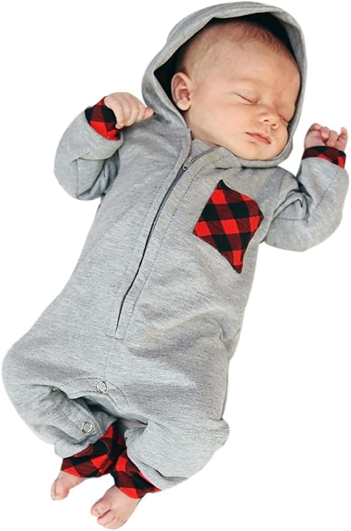 Baby Kids Boys Long Sleeve Plaid Hooded Jumper+Pants Outfits Clothes 0-18 Months