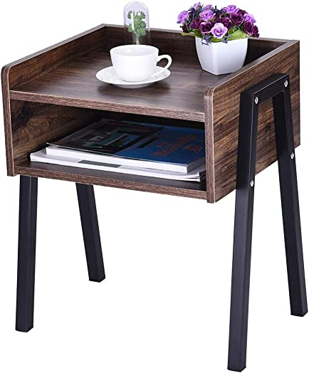 Micozy Industrial Nightstand, Stackable End Table, Cabinet for Storage, Side Table for Small Spaces, Wood Look Accent Furniture Metal Frame 18.1 x 14.2 x 20.5 inch
