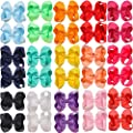30 Pack Hair Bows for Girls 6 Inches Large Big Grosgrain Ribbon Bows Alligator Hair Clips in Pairs Hair Accessories for Baby Girls Toddler Kids Teens Women