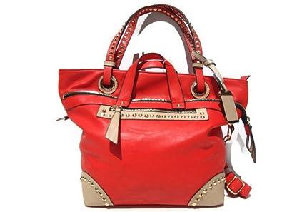 25d0994b7e New Choice- sac à main - cabas - rouge - clous - porté main - porté ...