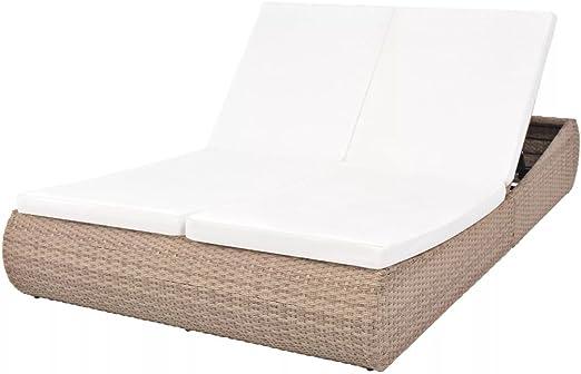 FZYHFA - Tumbona para 2 personas, resina trenzada, color gris y beige para casa, jardín o balcón: Amazon.es: Hogar
