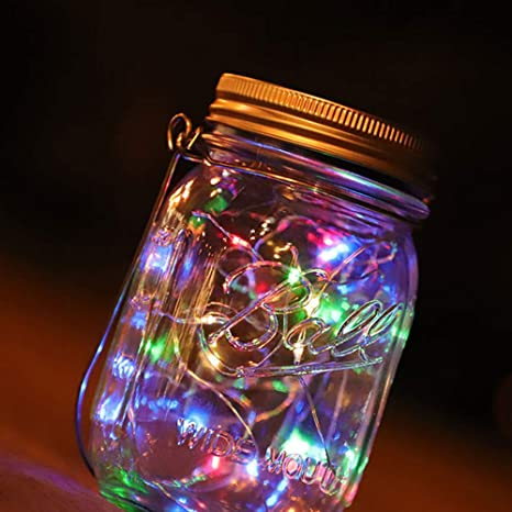 Lámpara de botella de albañil solar llevó luciérnaga luz impermeable color de cristal jardín luz,