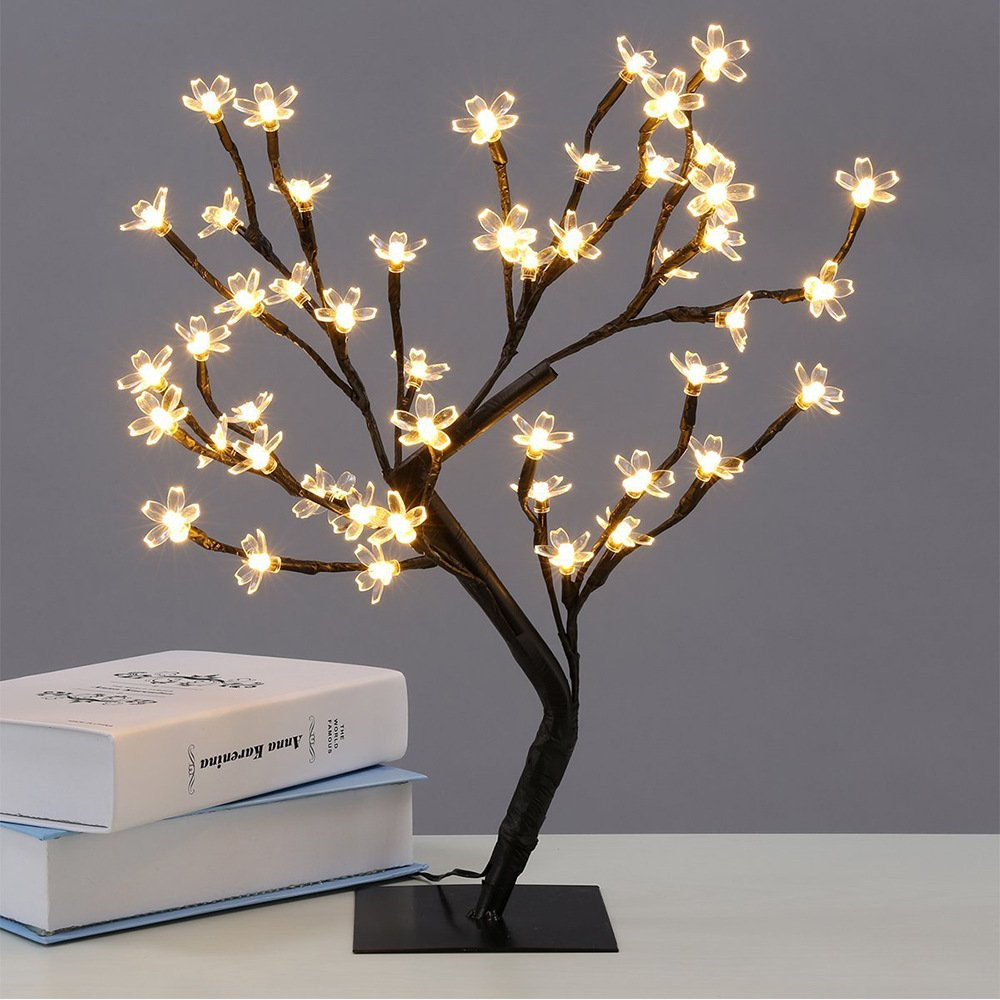 Deberon 17.7 inch 48 LEDs Cherry Blossom Desk Top Bonsai Tree Light with Plug Charger for Christmas, Party, Wedding, Ceremony, Celebration Decoration (Warm White)