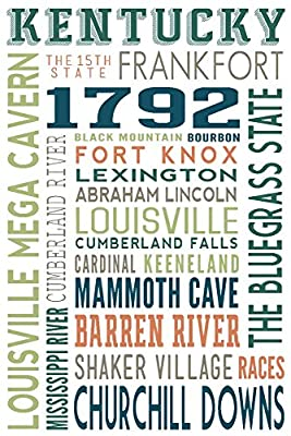 Kentucky - Typography (16x24 Collectible Giclee Gallery Print, Wall Decor Travel Poster)