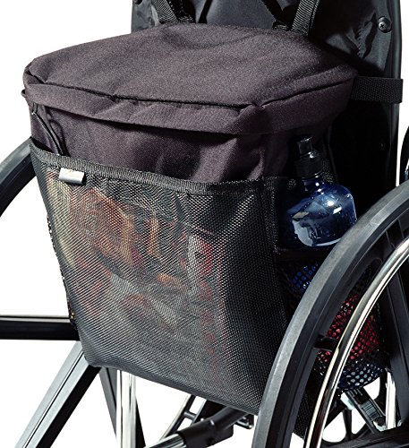 EZ-ACCESS Accessories, Wheelchair Pack (2.25 lbs), Secure Zippered Main Storage Compartment, Side Pockets for Drinks and Loose Items, Carry Handle for Use As Tote, Fits the Back of Most Wheelchairs