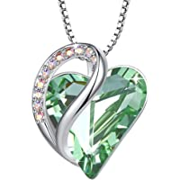 """Leafael Infinity Love Heart Pendant Necklace Birthstone Crystal Jewelry Gifts for Women, Silver-tone, 18""""+2"""", Presented…"""
