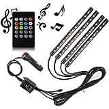 Ecloud Shop® Car LED Strip Light, 4pcs 48 LED DC 12V Multicolor Music Car Interior Light LED Under Dash Lighting Kit…