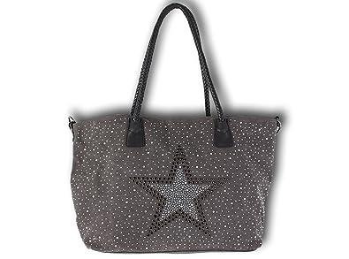 89cab8d787b93 K Company Damen Taschen Handtasche Schultertasche Umhängetasche Shopper  Stern Nieten Canvas Glitzer (Grau)